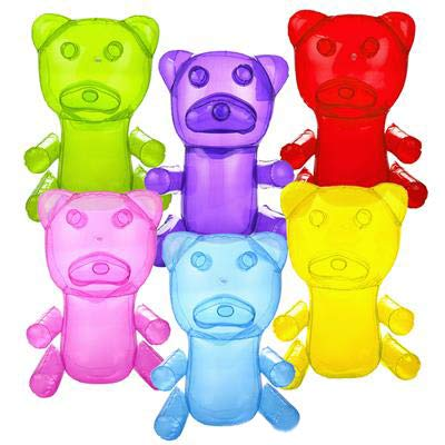 Inflatable Gummy Bears in Assorted Random Colors for Party Decorations - 18 Inch Gummy Bears (12) ()