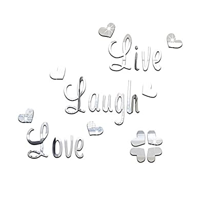 DIY Live Laugh Love Wall Art Stickers Quote Vinyl Mirror Effect Decals For Bedroom -Silver