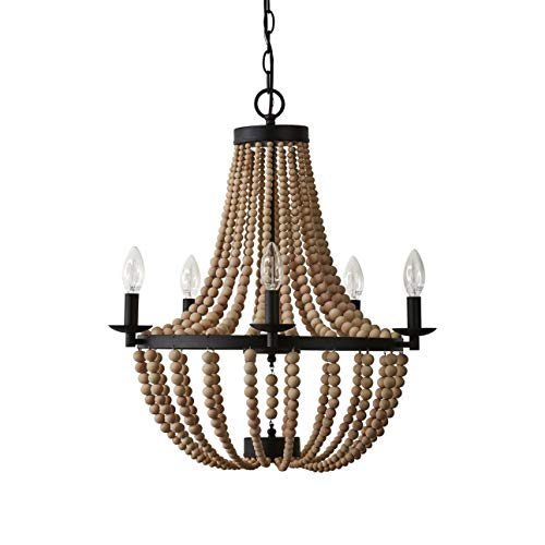 Twenty Six Light Chandelier - Stone & Beam Wood Bead Ceiling Flush Mount Chandelier Fixture With 6 Light Bulbs - 20 x 20 x 24 Inches, Matte Black Metal And Natural