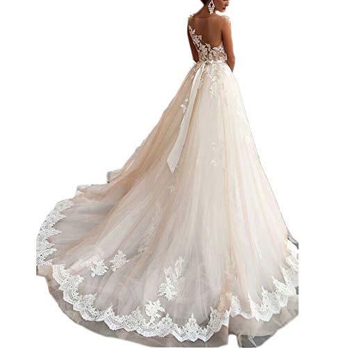 GFDress Women A Line Applique Beaded Lace Wedding Dress 2019 Luxury Chapel Train Bridal Halter Wedding Gowns 8 ()