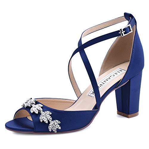 (ElegantPark HP1905 Women Peep Toe Block High Heel Sandals Strappy Rhinestones Satin Bridal Wedding Evening Prom Dress Shoes Navy Blue US)