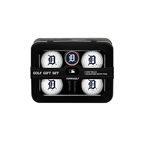 Team Golf MLB Detroit Tigers Regulation Size Golf Balls (4 Count) & Divot Tool with Removable Double-Sided Magnetic Marker