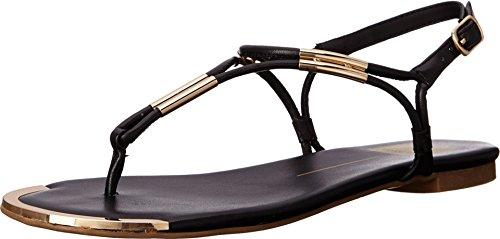 Dolce Vita Women's Marly Flat Sandal,Black,8.5 B(M) US (Thong Metallic Sandal)