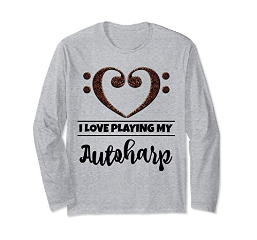 Bass Clef Musical Heart I Love Playing My Autoharp Musician Long Sleeve T-Shirt