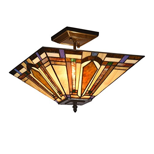 Docheer Tiffany-Style Mission 2-Light Semi Flush Mount Ceiling Lamp Fixture Light with 14-Inch Stained Glass Shade Lighting, Multi-Color (Semi Mission Flush Ceiling Fixture)
