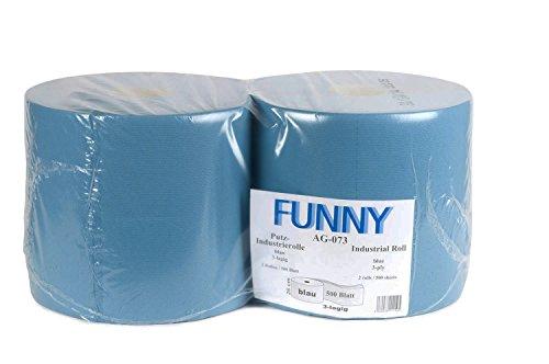 Funny Poetspapierrollen, 3 lagen, recycling blauw, 26 cm, 500 vellen, 1 verpakking (1 x 2 stuks)