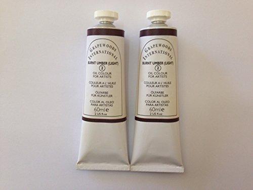Burnt umber light,extrafine oil paints(two handmade oil color tubes 60ml - Burnt Two Light Umber