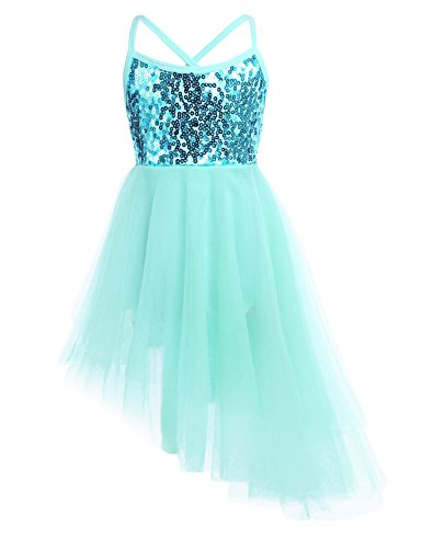 MSemis Girls' Sequins Camisole Ballet Dancing Dress Tutu Skirted Leotard Ballerina Dance Wear Costumes Asymmetric Mint Green 7-8 -