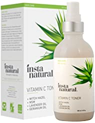 InstaNatural Vitamin C Facial Toner – 100% Natural & Organic Anti Aging Face Spray – Pore Minimizer & Calming Skin Treatment Sensitive, Dry & Combination Types Prep for Serums & Moisturizers 4 OZ