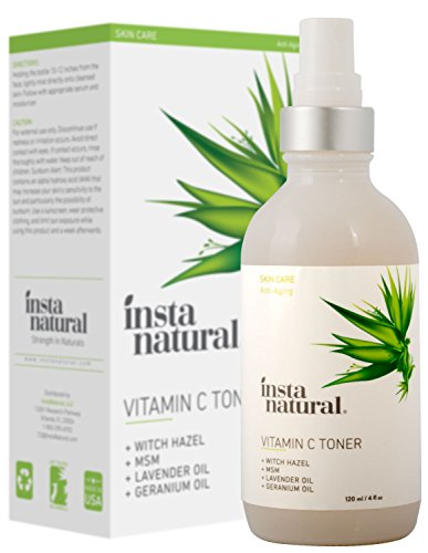 InstaNatural Vitamin C Facial Toner – 100% Natural & Organic Anti Aging Face Spray – Pore Minimizer & Calming Skin Treatment Sensitive, Dry & Combination Types Prep for Serums & Moisturizers 4 OZ ()