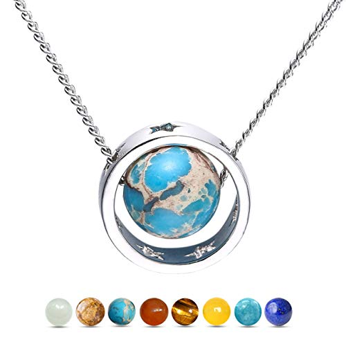 Engravery 8 Planets in The Solar System Earth Pendant -