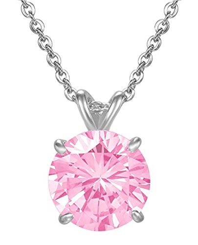 (Sterling Silver October Birthstone Necklace 16 inch 2 Carat Pink Tourmaline Necklace Anniversary Birthday Mother's Gift SSNK16-57)
