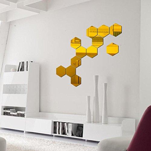12PCS Hexagon Mirror Wall Stickers ...