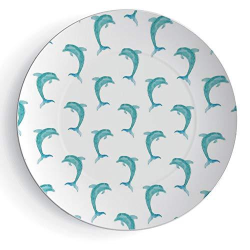 6'' Ceramic Decorative Plate Sea Animals Decor Ceramic Decorative Plates Aqua Watercolor Art Dolphin Figures Ocean Playful Marine Underwater Theme by iPrint