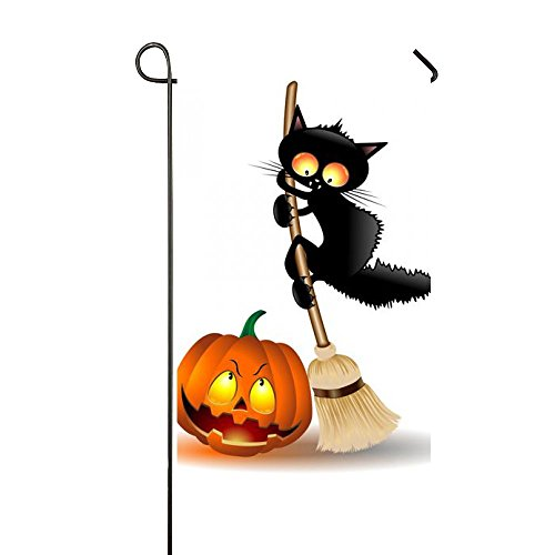 Rossne G sun Halloween Black Cats And Lighting Pumpkin Garden Flag House Flag Decoration Double Sided Flag 12.5