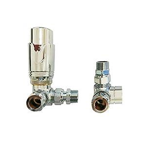 Aeon - Valvola termostatica angolare termostatica ad angolo con testa TRV Senso + set di protezione da 15 mm 41sGizaFBSL. SS300