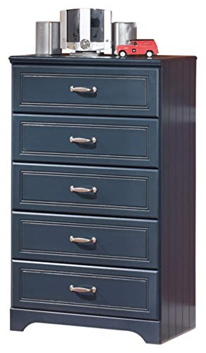 (Ashley Furniture Signature Design - Lulu Chest of Drawers - 5 Drawers - Casual Styling with Crisp Finish - Blue)