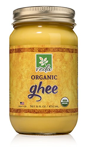 Veda Ghee - Certified Organic Pasture Raised Clarified Cultured Butter - Pure, Healthy Milk Fat that is Excellent in Coffee, as Cooking Oil, or for Diets Like Paleo and Whole 30