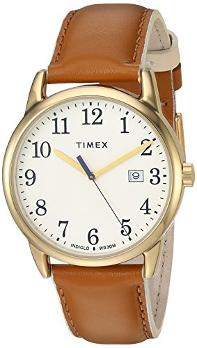 Timex Women's TW2R62700 Easy Reader 38mm Brown/Gold-Tone Leather Strap Watch ()