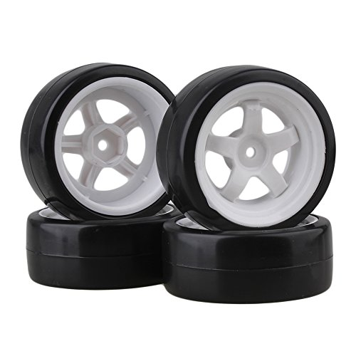 BQLZR 5 Spoke White Wheel Rim & Tyre Tires White+Black for RC 1:10 Drift Car & On Road Car Pack Of 4