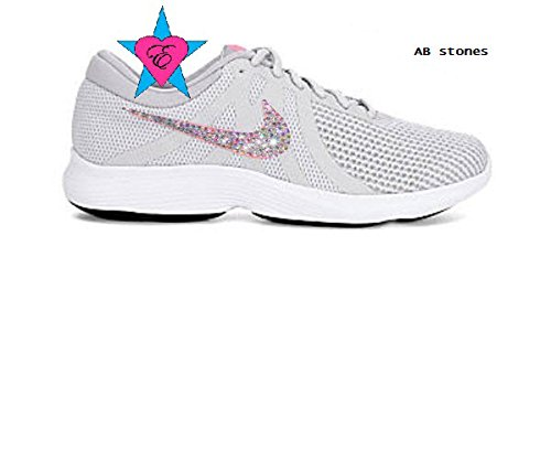 Women's Gray Pink Crystal Nike Revolution 4 Running Shoes by Eshays