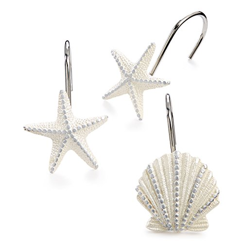 Seashell Bathroom Shower Curtain Hooks, Set of 12
