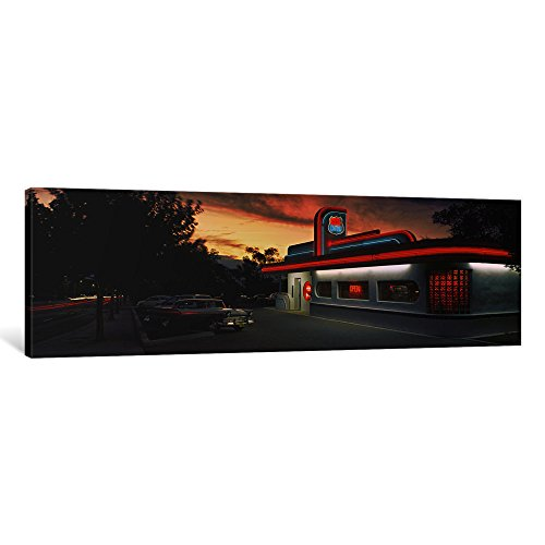 iCanvasART 1 Piece Cars Parked Outside a Restaurant, Route 66, Albuquerque, New Mexico, USA Canvas Print by Panoramic Images, 48