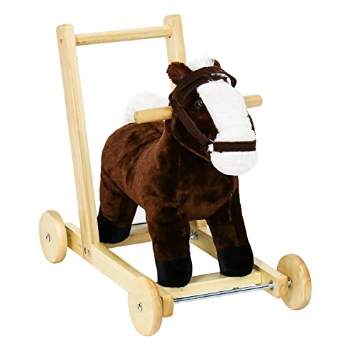 Peach Tree Kids Girls Boys Pony Ride on Horse Theme Style Rocking Toy for Children's Day Gift Rocking Horse Birthday Present Push Child Walking Trolley Sound w/Wheels by Peachtree Press Inc
