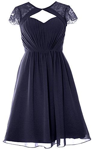 Short Sleeves Dark Elegant Wedding Dress Cap Gown Formal Bridesmaid Party MACloth Navy ncxtRvWwv