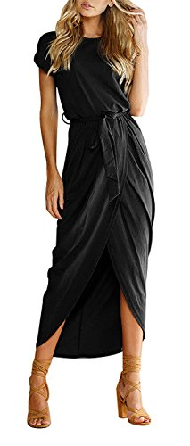 Yidarton Women's Casual Short Sleeve Slit Solid Party Summer Long Maxi Dress (Large, Black.) (Maxi Dress Black Casual)