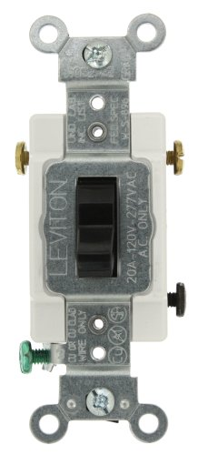 Leviton CS320-2E 20-Amp, 120/277-Volt, Toggle 3-Way AC Quiet Switch, Commercial Grade, Grounding, (Switch Black 20 Amp)