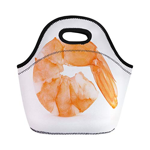 Semtomn Lunch Tote Bag Orange Prawn Shrimps Pink Appetizer Boiled Closeup Cooked Cooking Reusable Neoprene Insulated Thermal Outdoor Picnic Lunchbox for Men Women ()