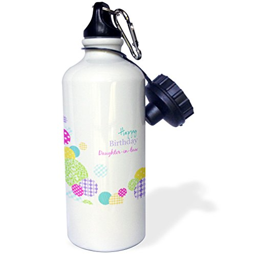 3dRose wb_165133_1 Happy Birthday Daughter-in-law - modern colorful dots pattern on white Sports Water Bottle, Multicolored, 21 oz White Dots Water Bottle