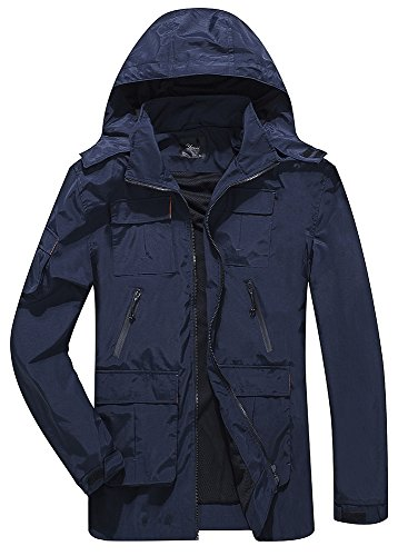 Yozai Outdoor Jacket Men, Men's Outdoor Sports Hooded Windproof Jacket Waterproof Softshell Jacket Blue XL by Yozai