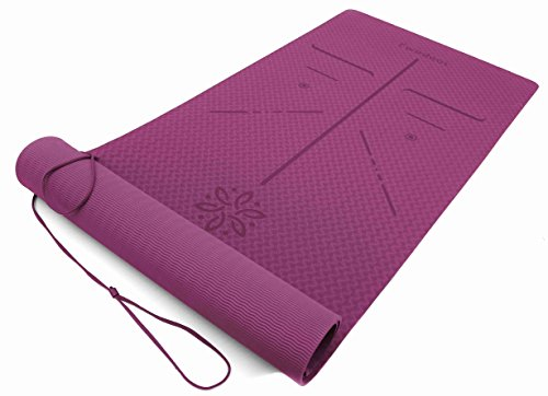 Ewedoos Eco Friendly Yoga Mat with Carry Strap and Bag, Alignment Guide Lines, ¼-Inch Thick High Density Padding To Avoid Sore Knees, Perfect for Yoga, Pilates and Fitness.