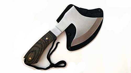 Camping Hatchet Survival Axe 9 Inch Full Tang 440 Stainless Steel with Wood Handle Tactical Hand Axe with Nylon Sheath for Hiking and Hunting Fits Backpack or Outdoor Emergency Tool Kit by DC Recreational