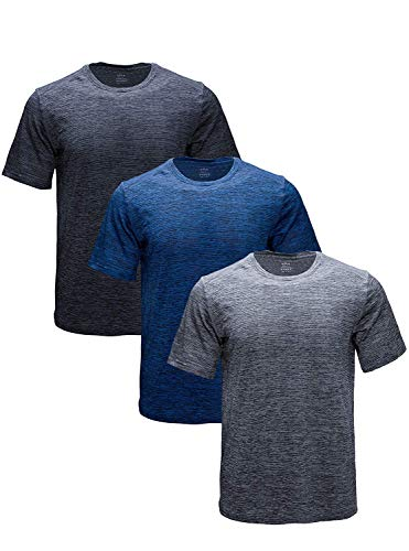 Shirts Workout Mens - GEEK LIGHTING Men's Short Sleeve Crewneck T-Shirt, Breathable Mesh Tee (Dark Grey&Grey&Blue, XXX-Large)