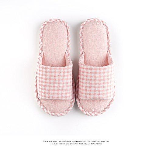 Habuji Primavera Y Verano De Algodón Zapatillas Femeninas Verano Casa Familiar Antideslizante Suave Zapatillas Masculinas, 40-41 (39-40), Plaid Rojo