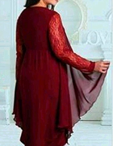 Irregular Oversized Lace Wine Dress Long Womens Red Sleeve Stitching Comfy Zwp5YqY
