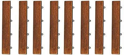 Bare Decor EZ-Floor Loop Ends Side Trim Piece Interlocking Flooring in Solid Teak Wood, (Set of 8)