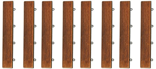 Bare Decor EZ-Floor Loop Ends Side Trim Piece Interlocking Flooring in Solid Teak Wood, (Set of 8)