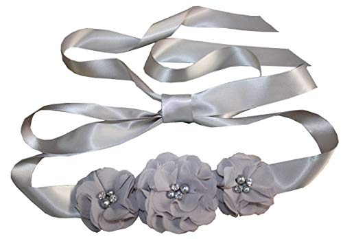Bridesmaid and Flowergirls sashes wedding sash pearls flowers belts (Silver)