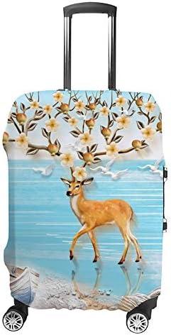 スーツケースカバー トラベルケース 荷物カバー 弾性素材 傷を防ぐ ほこりや汚れを防ぐ 個性 出張 男性と女性花でいっぱいの海沿いの枝角