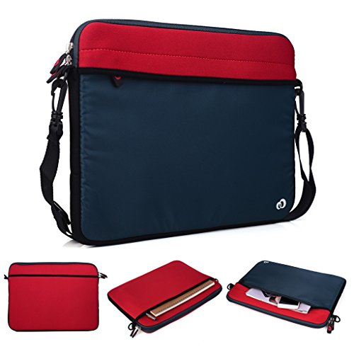 Kroo Tablet/Laptop Hülle Sleeve Case mit Schultergurt für Dell Latitude 14 grün grün rot KDIzGr
