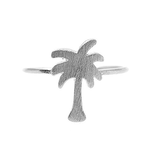 SpinningDaisy Handcrafted Brushed Metal Cut Out Palm Tree Ring (Palm Womens Ring)