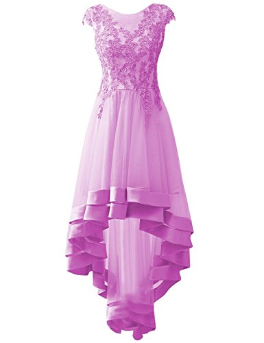 High Low Prom Dresses Long Evening Formal Gowns Tulle Applique Maxi Party Cocktail Dress US 28W Lilac