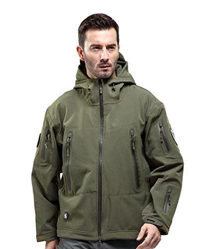 FREE SOLDIER Men Outdoor Tactical Softshell Jacket Waterproof Army Military Hooded jacket (Army green L)