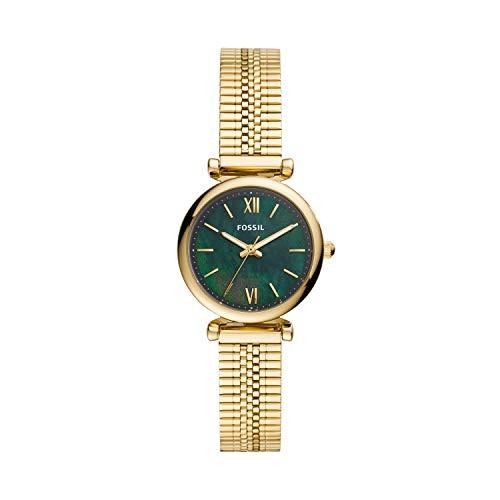 Fossil Women's Carlie Mini Quartz Stainless Steel Strap, Gold, 12 Casual Watch (Model: ES4645)