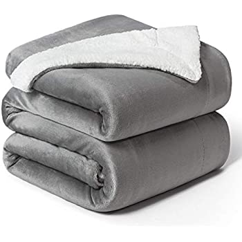 Bedsure Sherpa Fleece Blanket King Size Grey Plush Blanket Fuzzy Soft Blanket Microfiber