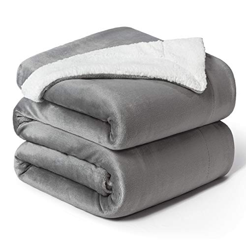 Bedsure Sherpa Fleece Blanket Queen Size Grey Plush Blanket Fuzzy